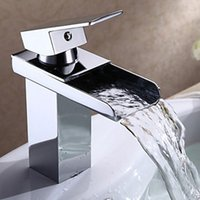 Wholesale Waterfall Bathroom Sink Faucets Contemporary Chrome Finish Brass Basin Faucet
