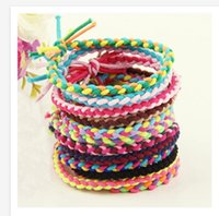 Wholesale 2015 Korean style women hair accessories Handmade Knitting elastic hair bands fluorescence color hair holder hair tie G0478