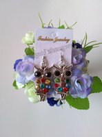 Wholesale Best sales Fashion Jewelry Colorful Owl Crystal Silver Fish Hooks Earrings Dangle diamond inlaid style
