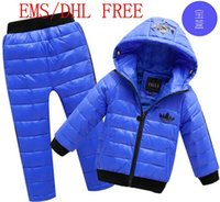 Wholesale DHL EMS colors New children boys girls winter clothing jacket pant baby child Sports warm down Windproof Down Coat BS