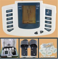 Wholesale Health Care JR New Electrical Stimulator Full Body Relax Muscle Massager Pulse tens Acupuncture with therapy slipper pads