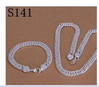Wholesale 925 Silver Set Sets Jewelry Plating Silver Bracelets Necklace Men s Jewelry