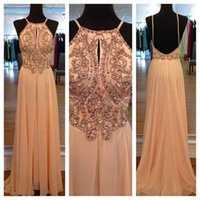 sleeveless halter top - 2015 Sexy Backless A Line Evening Dresses with Appliques Top Halter Neck Sleeveless Celebrity Dress Long Cheap Chiffon Prom Pageant Gowns