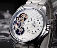 amazing sports wristwatch - Amazing Mens Watch Dual Movement Hollow Full Automatic Mechanical Wristwatch Tourbillon Bangle Bracelet Clasp Sport Gift