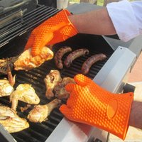 silicone oven glove - Heat Resistant Grilling Silicone BBQ gloves barbecu Kitchen Pot Holders Protective Oven Mitts cooking kitchen gloves Russia