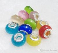 Wholesale jlb DIY Handmade Lampwork Bead Big Hole loose Murano Cat Eye Spacer European Core Beads