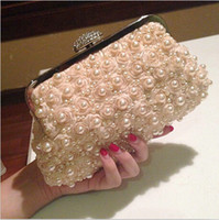 bags rose champagne - Exquisite Champagne Flower Crystal Pearl Bridal Handbags with Chain Corss Body Dinner Bags Flora Rose Women Evening Prom Handbags Clutch