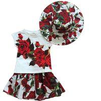 shirt t-shirt - 2015 Wlmonsoon Summer Best Sale Red Rose Flower Short Sleeve T shirt Girl Printing Floral Princess T shirts Kids T shirts Children T shirts