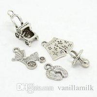 antique pram - sets Antique Silver Mixed Baby Accessories Alloy Pendants Pacifier Pram Trousers and Baby Feet Charms for jewelry making DIY
