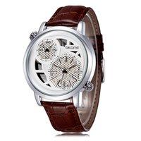 Cheap New Fashion leather Watch Men Dual Japan Quartz Movement Dual Time Display casual Wristwatches Skeleton Dial Life Waterproof