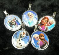 Wholesale frozen pendant needle Anna elsa Olaf silicone stainless steel pendant charms children s Accessories children s Jewelry