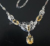 Cheap Necklace Natural real citrine necklace 925 sterling silver plated 18k white gold Perfect jewelry Free shipping Gemstone necklace DH#15061907
