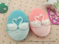 Wholesale DIY Pink and Blue Flatback Resin Swan Lover Cameo Cabochons For Jewelry Decoration mm