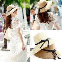 Cheap beach bowknot sun hat Best foldable straw hats