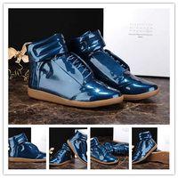 MEN SNEAKER - Maison Martin Margiela Future Kanye West Sneakers High Top Luxuries Genuine Leather Men s Fashion Casual Shoe Steel Blue Patent