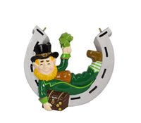 resin christmas ornaments - Irish Elf with Horseshoe Best Luck Christmas resin hanging ornament with personalized glossy horseshoe as craft souvenir for g