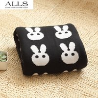 bedspread cotton thread - Blanket Black and white knitted rabbit cross heart blankets for beds cotton mantas para cama bedspread and blankets deken