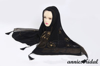 Wholesale Fashion cotton black muslim long Hijabs with beads flowers islamic Scarves women s islamic long scarfs hijab muslim long shawl long wraps j6