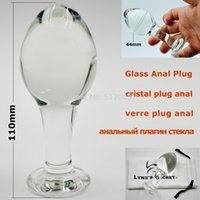 Cheap w1022 Big head large pyrex glass butt anal plug bead Crystal dildo sex toys for women men gay adult female male masturbation products