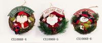 snowman decoration - 100pcs Christmas Pine Needle Wreath Exquisite Door Hanging decoration Santa Snowman Reindeer Ornament Xmas Gifts