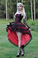achat en gros de gothique belle-Noir et Rouge Dentelle gothique de partie Robes bretelles spaghetti lacent Retour Salut Lo Belle Dress Steampunk Fashion Prom Robes de soirée