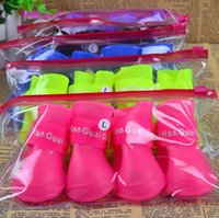 big s wedding - 1Set Cute Non slip Colorful Dog Pet Boots Rubber Water Protective Pet Shoes Booties Waterproof Rain cat dog big Pet shoes S M L