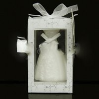 Wholesale 200pcs Elegant Wedding bride Gown Candle Favors for Wedding Party Gifts Stuff Supplies Retail package