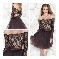 Cheap 2015 Short Cocktail Dresses Lace Portrait Little Formal Prom Dress Long Sleeve Backless Christmas Evening Gowns Custom Made Plus Size