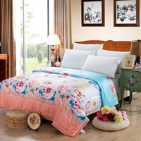 Wholesale Silk feeling Rayon Comforter Printed Colorful Flower Classic Chinese Style Exquisite Soft Touch Good Sleeping Quality for Summer