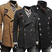 korean men fashion - 2015 New Fashion men Trench coat Korean The new fashion double breasted Men s cloth coat