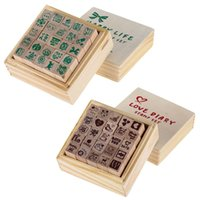 Wholesale 25pcs set Wooden Box Lovely Diary Pattern Stamp Rubber Cute DIY Writing Scrapbooking Stamp Gift