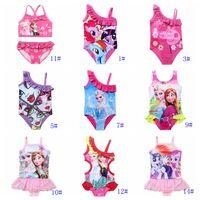 one price - DHL children swimwear frozen elsa anna moster high my little pony pep pig cartoon girls one piece swimwear kids bath suit factory price