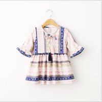 korean kids clothes - 2015 Fashion Folk Style Childrens Half Flare Sleeve Floral Printed Princess Dress Hot Sale Girls Korean Style O Neck Dress Kids Clothes