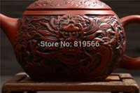 antique chinese pots - new handmade zisha clay teapot chouzhou purple sand kung fu ceramic tea pot set chinese antique dragon gift limited sale