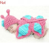 al por mayor recién nacido ropa de la fotografía-Niño lindo del bebé hizo punto ropa determinada mariposa Romper ganchillo accesorios de fotos vetements recién nacidos Fotografía sombreros del bebé gorras de 0-9 Mes Pink18497