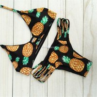 Wholesale 2016 New Design Pineapple Printing V neck Bandage Halter Bikini Hollow Out Swimsuit Maillot De Bain