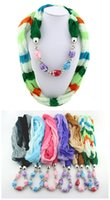 Wholesale Real Rushed Clearance Sale Scarf Jewelry with Beads Pendant Scarves Jewellery Fashion Charms Necklace Mix Color design Random Delivery