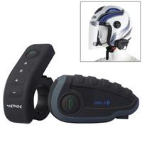 Wholesale Portable Handheld Walkie Talkie V8 M Rider Motorcycle Helmet Intercom Bluetooth Headset w Remote Controller NFC Function