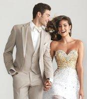 wholesale suits - Custom Made New Style Groom Tuxedos Notch Lapel Best Man Suit Champagne Groomsman Men s Wedding Prom Suits Jacket Pants Tie Vest AM1