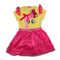 little girls dresses - 2 Colors My Little Pony Short Sleeve Lace Dress Girls Fashion Cartoon Printing TuTu Dress Kids Clothing For T Little Girls