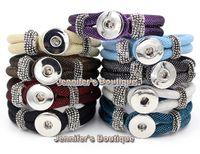 Wholesale 9 Colors Newest Unix Classic Noosa Chunks Snap Button Bracelet Fashion Chunky Noosa Snaps Interchangeable Snap Buttons Bracelets
