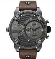 Cheap DZ 7258 Oversized Case Mutiple Dials Date Display Rubber Strap Quartz Waterproof Men Watches Dark Brown Strap