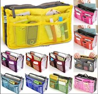 bag liners - 2016 Colors Christmas Women Lady Travel makeup bag Insert Handbag Purse Large liner Tote Organizer Dual Storage Amazing make up bags