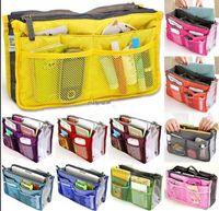 Wholesale Large Tote Storage Bag - 2016 14Colors Christmas Women Lady Travel makeup bag Insert Handbag Purse Large liner Tote Organizer Dual Storage Amazing make up bags