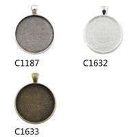 Wholesale 20Pcs fit MM Round Glass Cabochon Zinc Alloy Bezel Pendant Blank Bases Trays c1187