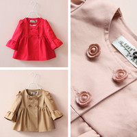 baby bow corduroy - UPS Free Ship Fashion Baby Girls Coats girl Cotton Bow Trench dress kids Spring Autumn popular Flare Sleeve Bowknot Princess cloth