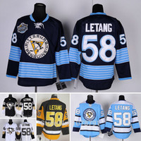 achat en gros de maillot authentique 58-Vente en gros de qualité supérieure # 58 Kris Letang Pittsburgh Penguins Hockey sur glace Authentic Jersey brodé à la broderie Thrid Alternate Jersey
