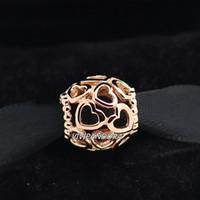 925 plata esterlina y oro de Rose plateado abrir su corazón encanto de ajuste del grano de estilo europeo pulseras de la joyería de Pandora Collares