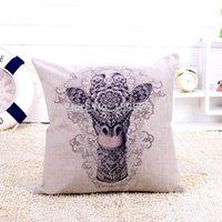 Cheap High Quality Linen Sofa Cushion Cover Love Sika Deer Throw Pillow Case For Car Home Decor Bedding Accessories Wedding Gift 45*45