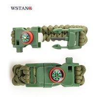 Wholesale Survival Bracelet Whistle Clasp - WSTANG Multi-functional outdoor Survival Bracelets lose true with the compass & clasp bracelets bracelets flint whistle new patent products
